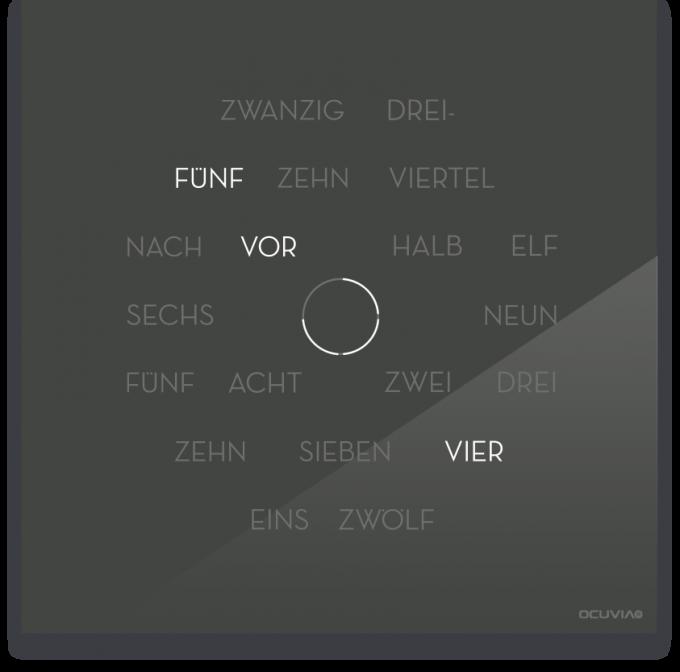 OCUVIA® · Wortuhr Anna · Anthrazit glänzend · Wortuhren-Manufaktur Berlin