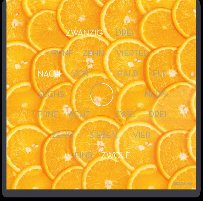 OCUVIA® · Wortuhr Anna · Arancia Orangen · Wortuhren-Manufaktur Berlin