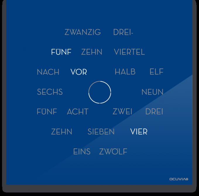 OCUVIA® · Wortuhr Anna · Blau glänzend · Wortuhren-Manufaktur Berlin