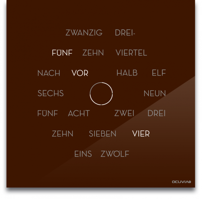 OCUVIA® · Wortuhr Anna · Braun glänzend · Wortuhren-Manufaktur Berlin