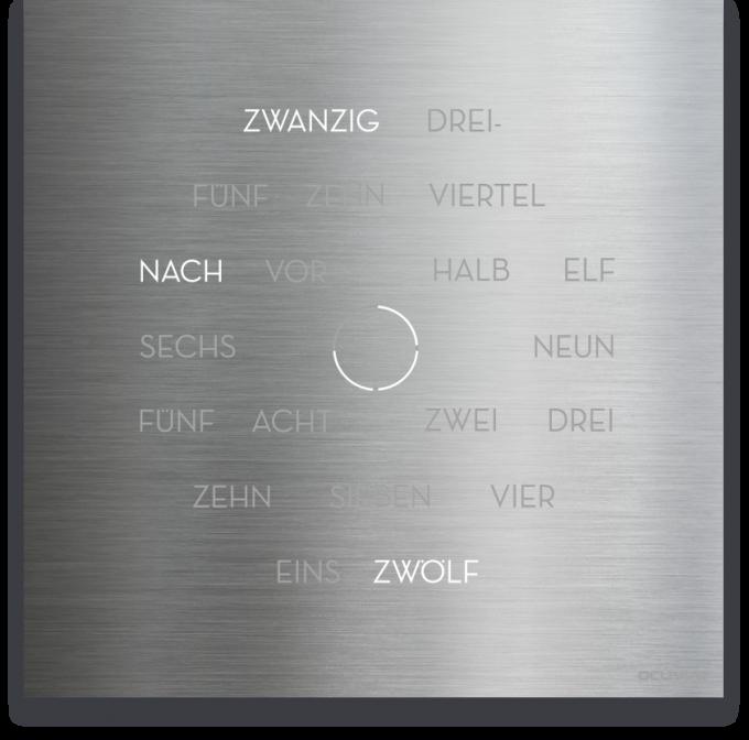 OCUVIA® · Wortuhr Anna · Edelstahl Optik · Wortuhren-Manufaktur Berlin