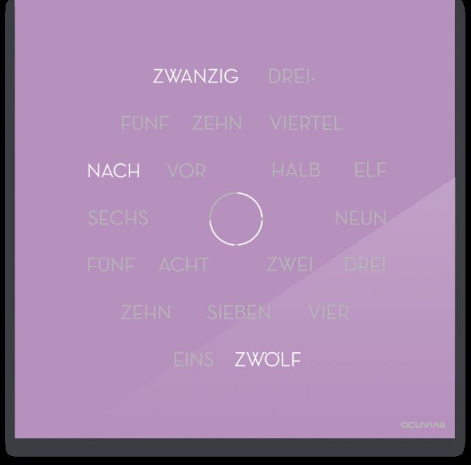 OCUVIA® · Wortuhr Anna · Flieder glänzend · Wortuhren-Manufaktur Berlin
