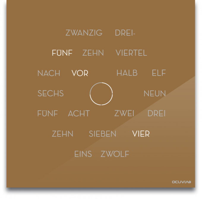 OCUVIA® · Wortuhr Anna · Gold glänzend · Wortuhren-Manufaktur Berlin