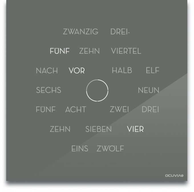 OCUVIA® · Wortuhr Anna · Grau glänzend · Wortuhren-Manufaktur Berlin