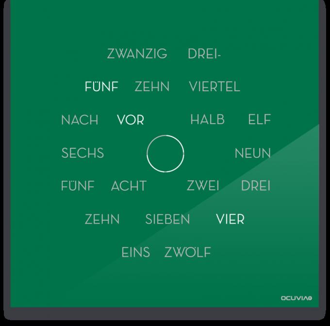 OCUVIA® · Wortuhr Anna · Grün glänzend · Wortuhren-Manufaktur Berlin