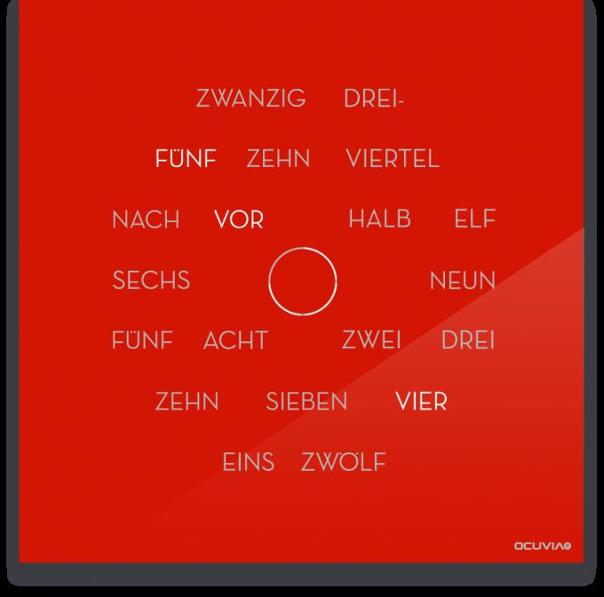 OCUVIA® · Wortuhr Anna · Hellrot glänzend · Wortuhren-Manufaktur Berlin
