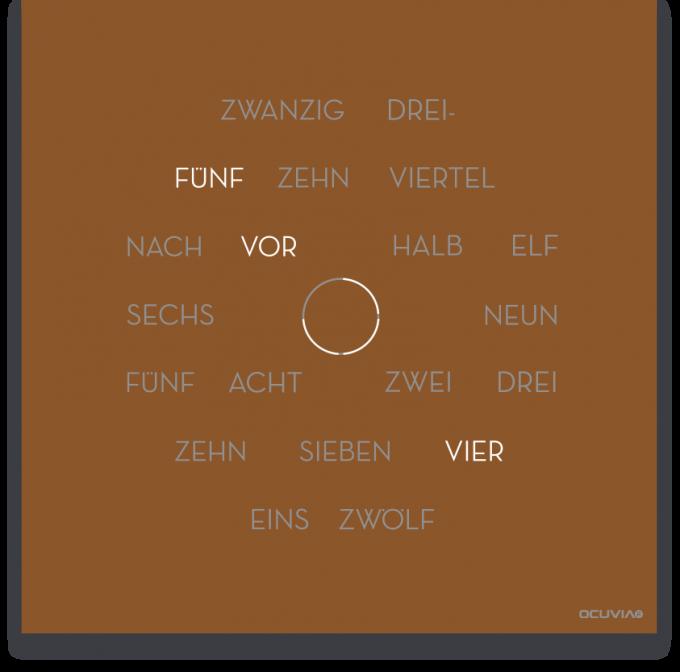 OCUVIA® · Wortuhr Anna · Kupfer matt · Wortuhren-Manufaktur Berlin