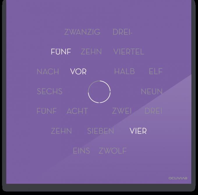 OCUVIA® · Wortuhr Anna · Lavendel glänzend · Wortuhren-Manufaktur Berlin