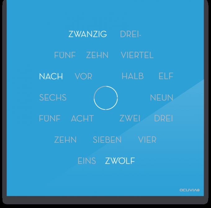 OCUVIA® · Wortuhr Anna · Lichtblau glänzend · Wortuhren-Manufaktur Berlin