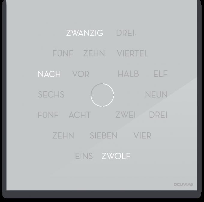OCUVIA® · Wortuhr Anna · Lichtgrau glänzend · Wortuhren-Manufaktur Berlin