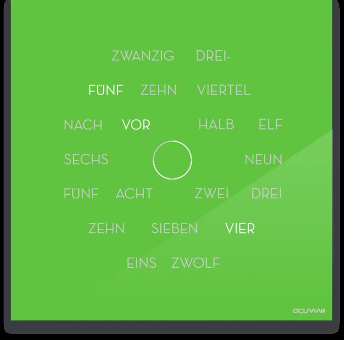 OCUVIA® · Wortuhr Anna · Lindgrün glänzend · Wortuhren-Manufaktur Berlin
