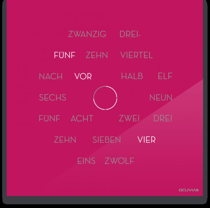 OCUVIA® · Wortuhr Anna · Pink glänzend · Wortuhren-Manufaktur Berlin