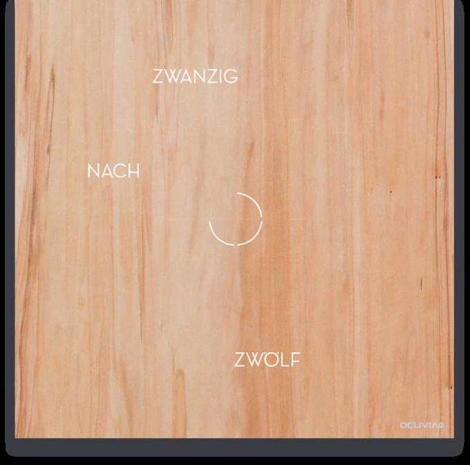 OCUVIA® · Wortuhr Anna · Redgum Holzoptik · Wortuhren-Manufaktur Berlin