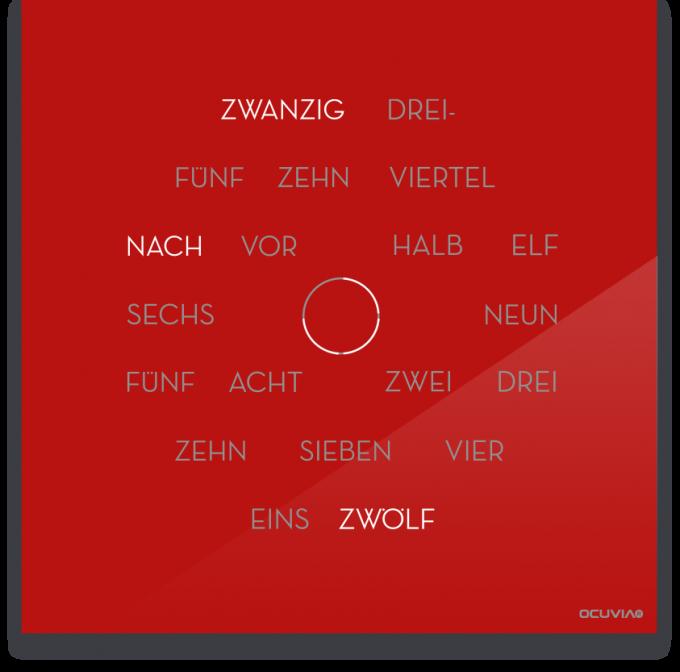 OCUVIA® · Wortuhr Anna · Rot glänzend · Wortuhren-Manufaktur Berlin
