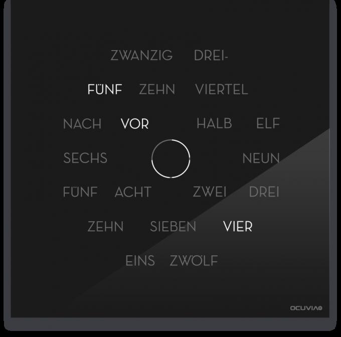 OCUVIA® · Wortuhr Anna · Schwarz glänzend · Wortuhren-Manufaktur Berlin