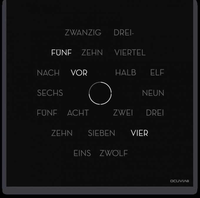 OCUVIA® · Wortuhr Anna · Schwarz matt · Wortuhren-Manufaktur Berlin