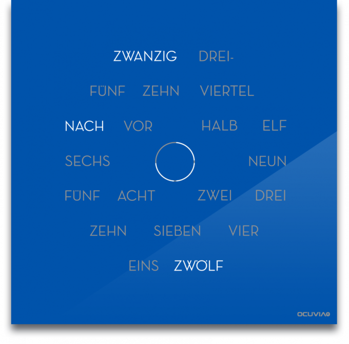 OCUVIA® · Wortuhr Anna · Signalblau glänzend · Wortuhren-Manufaktur Berlin