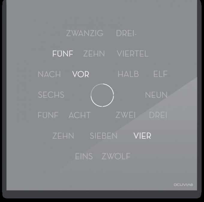 OCUVIA® · Wortuhr Anna · Silbergrau glänzend · Wortuhren-Manufaktur Berlin
