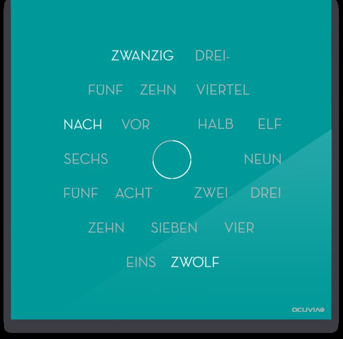 OCUVIA® · Wortuhr Anna · Türkis glänzend · Wortuhren-Manufaktur Berlin