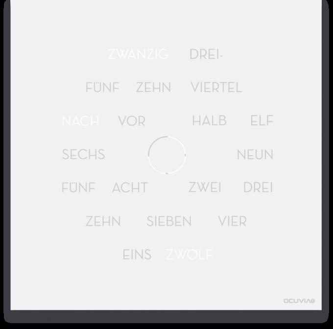 OCUVIA® · Wortuhr Anna · Weiß matt · Wortuhren-Manufaktur Berlin