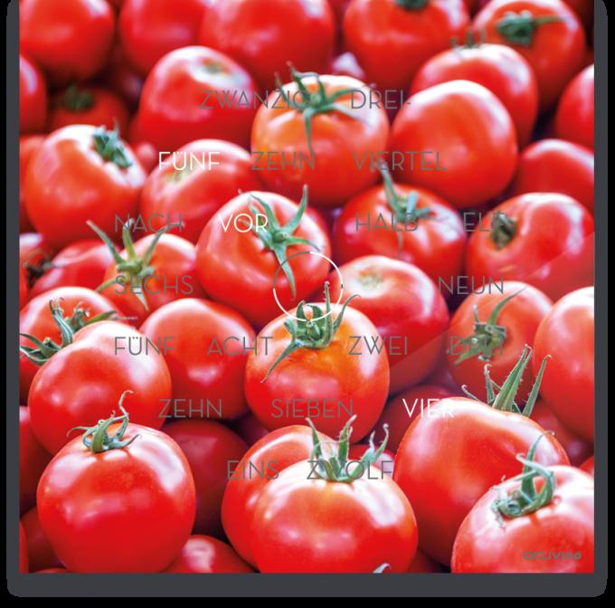 OCUVIA® · Wortuhr Anna · Pomodoro Tomaten · Wortuhren-Manufaktur Berlin