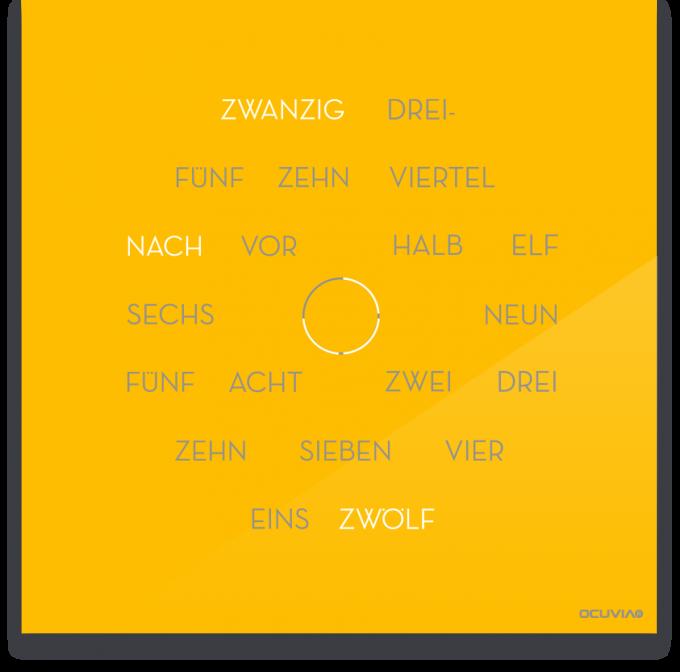 OCUVIA® · Wortuhr Anna · Sonnengelb glänzend · Wortuhren-Manufaktur Berlin
