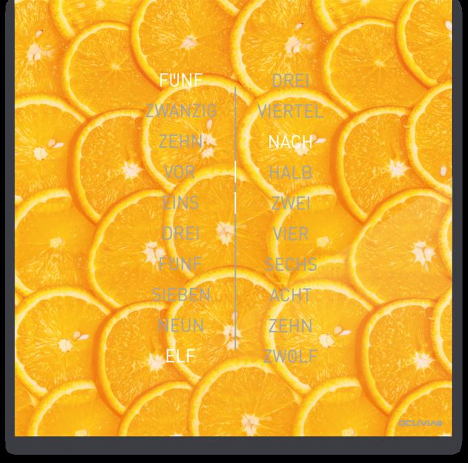 OCUVIA® · Wortuhr Ella · Arancia Orangen · Wortuhren-Manufaktur Berlin