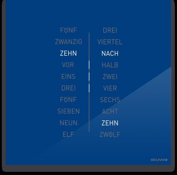 OCUVIA® · Wortuhr Ella · Blau glänzend · Wortuhren-Manufaktur Berlin