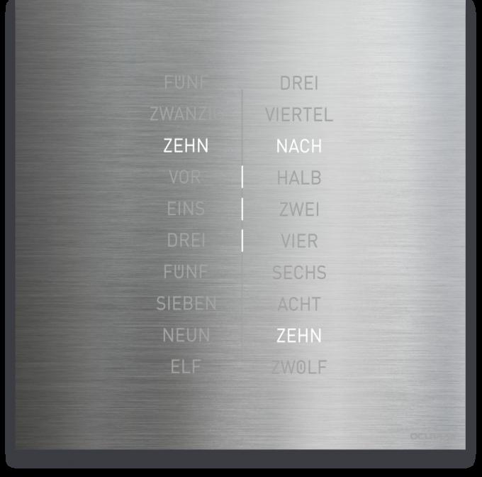 OCUVIA® · Wortuhr Ella · Edelstahl Optik · Wortuhren-Manufaktur Berlin-uhren_manufaktur_ella-edelstahl-optik_deutsch_2