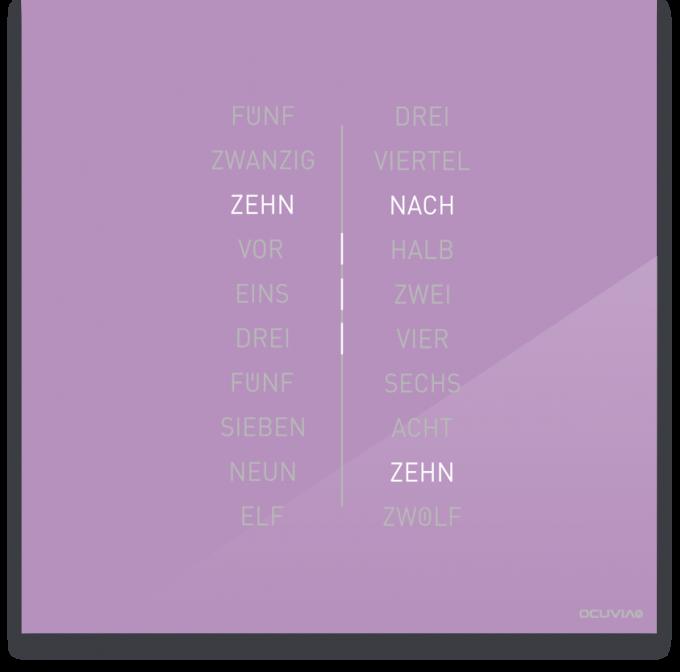 OCUVIA® · Wortuhr Ella · Flieder glänzend · Wortuhren-Manufaktur Berlin