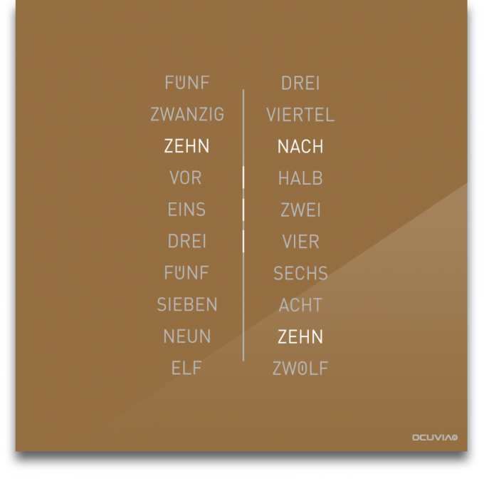 OCUVIA® · Wortuhr Ella · Gold glänzend · Wortuhren-Manufaktur Berlin