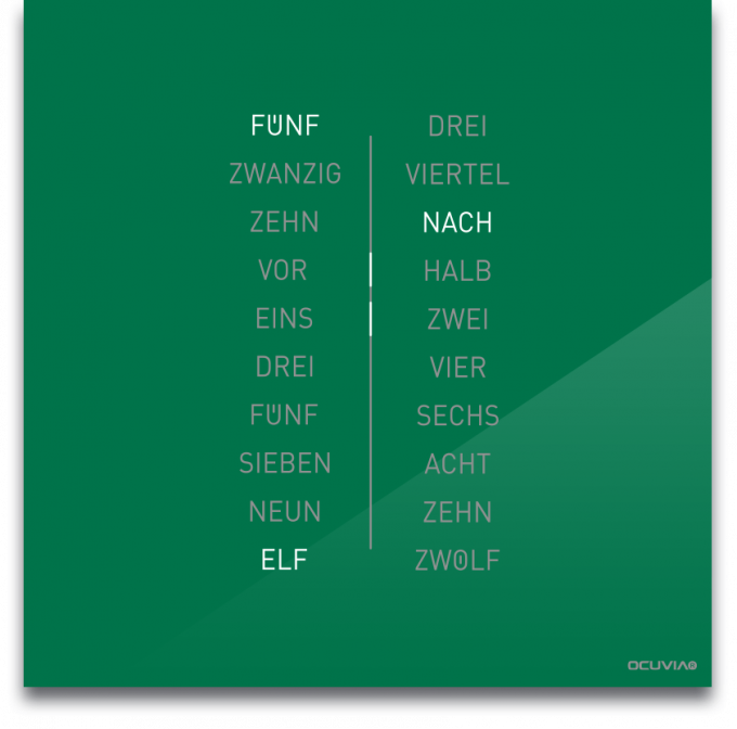 OCUVIA® · Wortuhr Ella · Grün glänzend · Wortuhren-Manufaktur Berlin