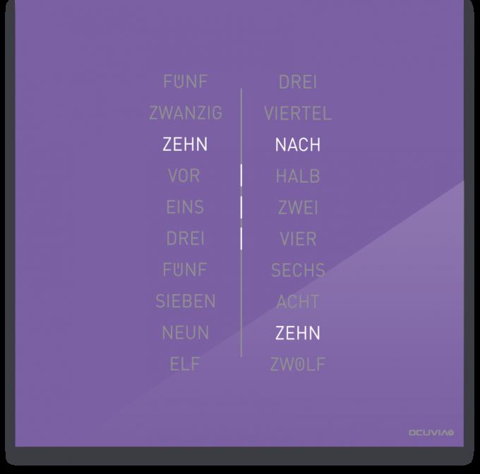 OCUVIA® · Wortuhr Ella · Lavendel glänzend · Wortuhren-Manufaktur Berlin