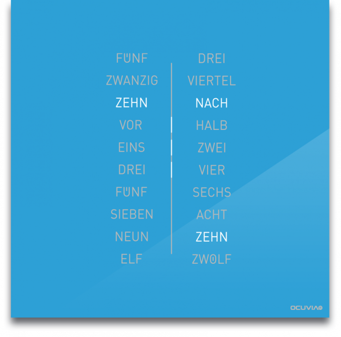 OCUVIA® · Wortuhr Ella · Lichtblau glänzend · Wortuhren-Manufaktur Berlin