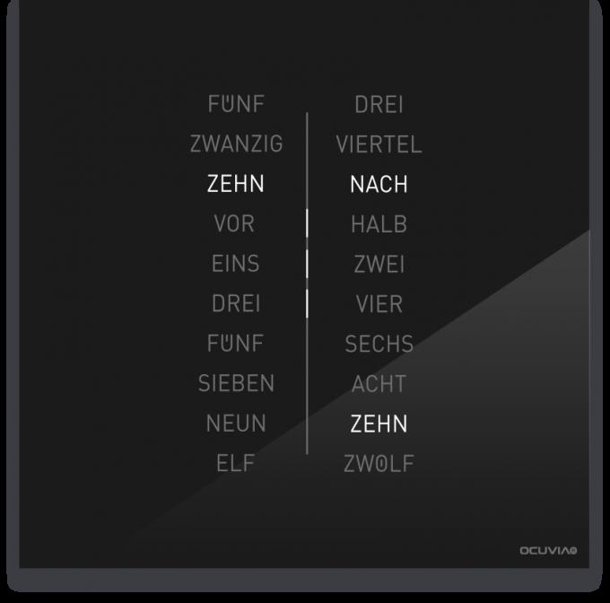 OCUVIA® · Wortuhr Ella · Schwarz glänzend · Wortuhren-Manufaktur Berlin