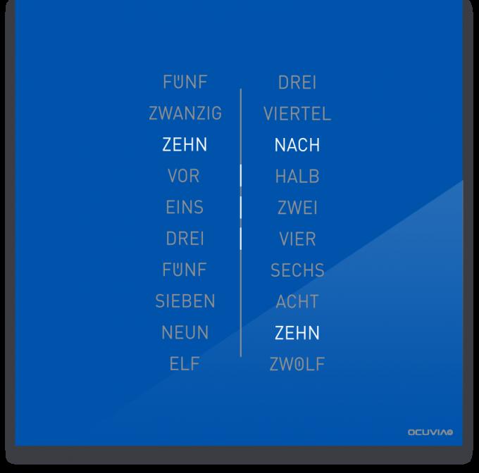 OCUVIA® · Wortuhr Ella · Signalblau glänzend · Wortuhren-Manufaktur Berlin