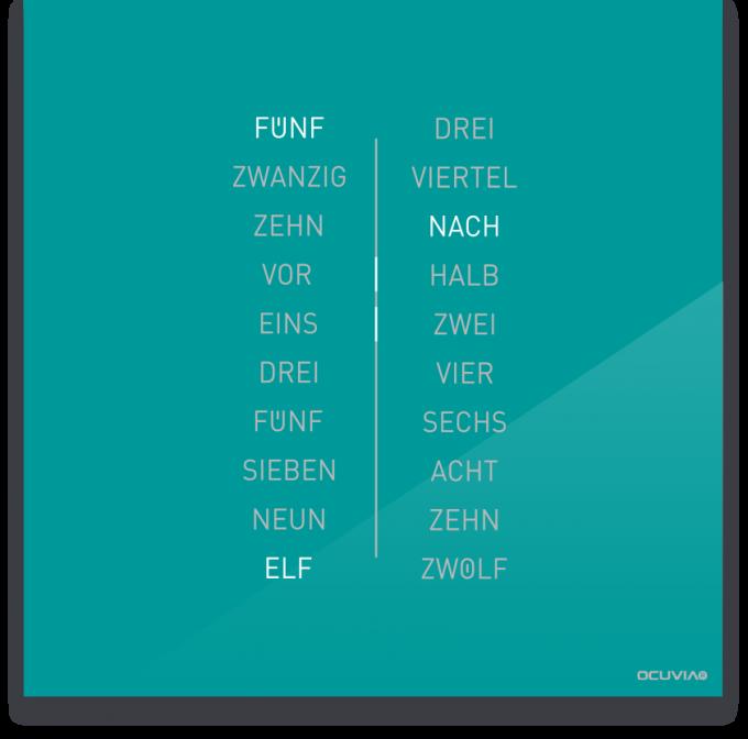 OCUVIA® · Wortuhr Ella · Türkis glänzend · Wortuhren-Manufaktur Berlin