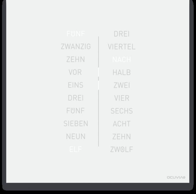 OCUVIA® · Wortuhr Ella · Weiß matt · Wortuhren-Manufaktur Berlin