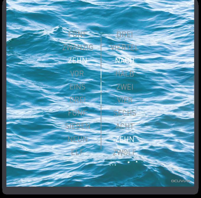 OCUVIA® · Wortuhr Ella · Mare Meer · Wortuhren-Manufaktur Berlin