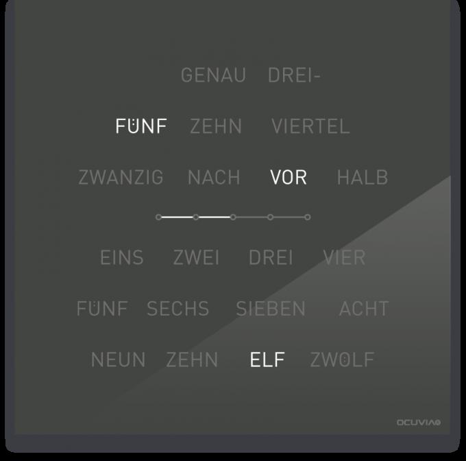 OCUVIA® · Wortuhr Lisa · Anthrazit glänzend · Wortuhren-Manufaktur Berlin