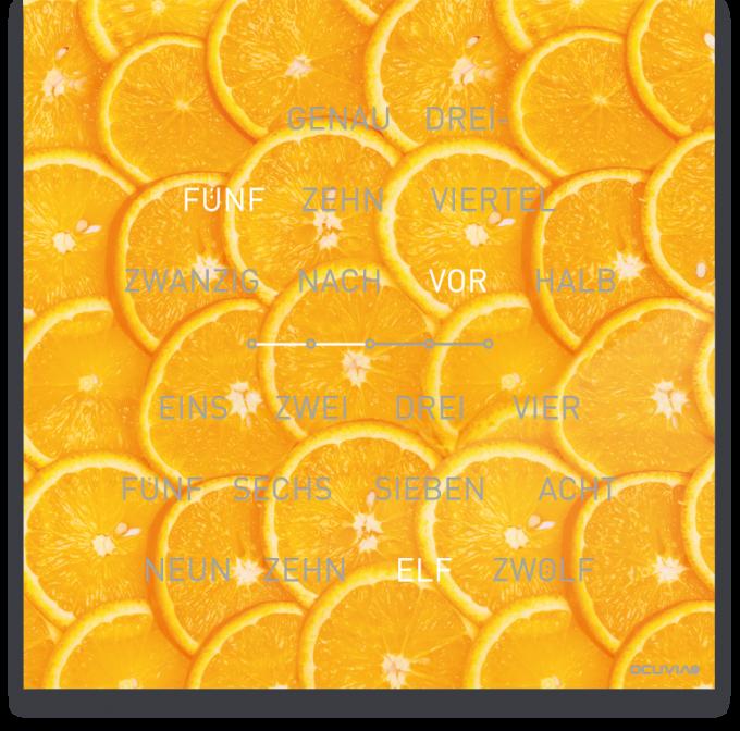 OCUVIA® · Wortuhr Lisa · Arancia Orangen · Wortuhren-Manufaktur Berlin