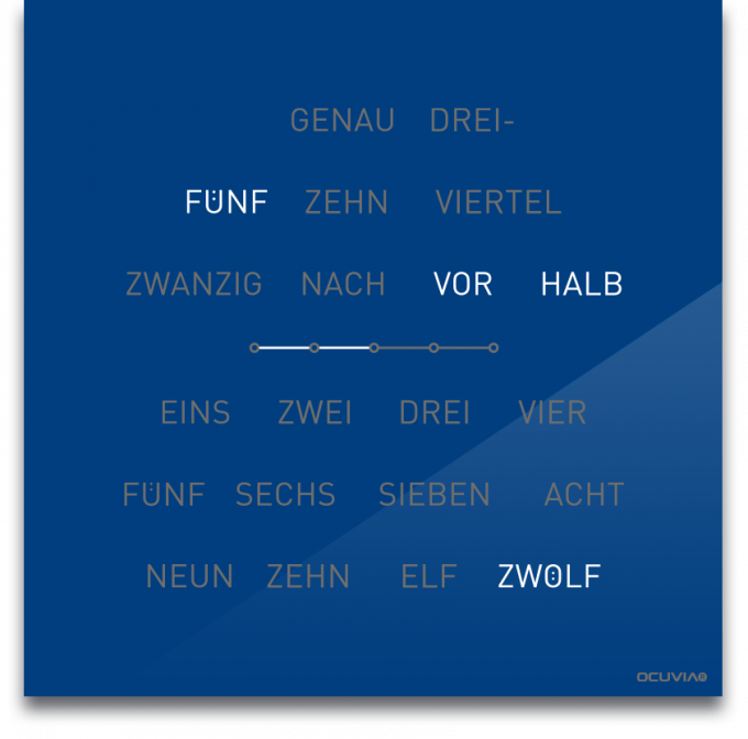OCUVIA® · Wortuhr Lisa · Blau glänzend · Wortuhren-Manufaktur Berlin