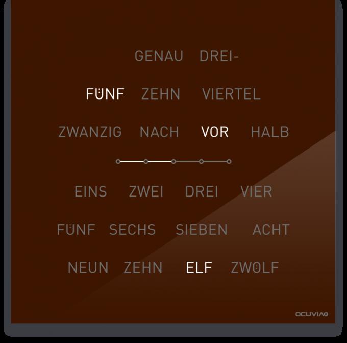 OCUVIA® · Wortuhr Lisa · Braun glänzend · Wortuhren-Manufaktur Berlin