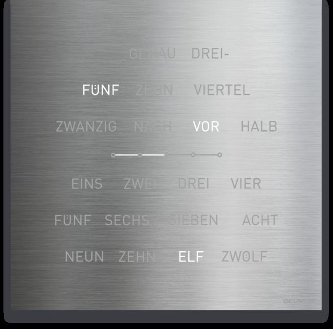 OCUVIA® · Wortuhr Lisa · Edelstahl Optik · Wortuhren-Manufaktur Berlin