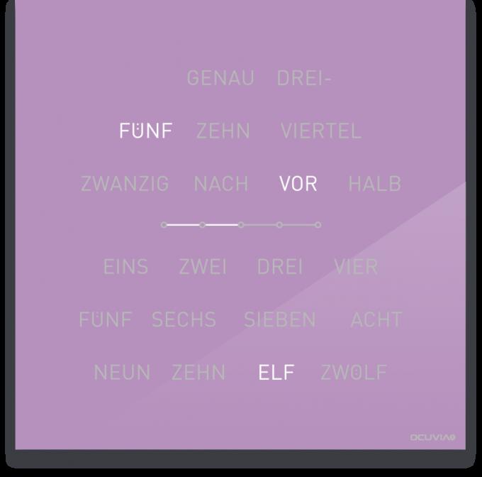 OCUVIA® · Wortuhr Lisa · Flieder glänzend · Wortuhren-Manufaktur Berlin