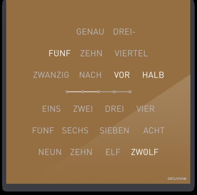 OCUVIA® · Wortuhr Lisa · Gold glänzend · Wortuhren-Manufaktur Berlin