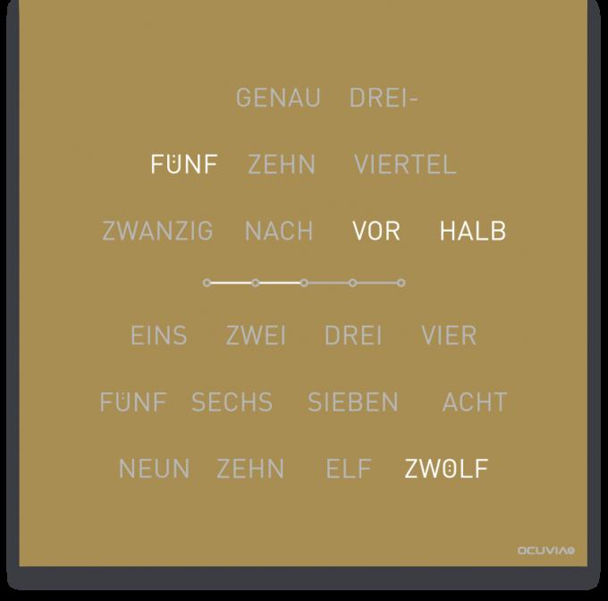 OCUVIA® · Wortuhr Lisa · Gold matt · Wortuhren-Manufaktur Berlin