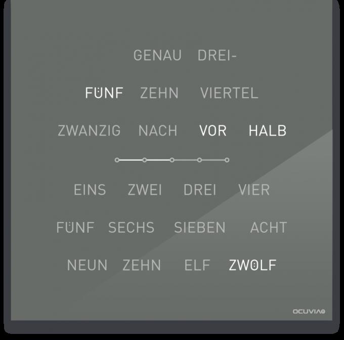 OCUVIA® · Wortuhr Lisa · Grau glänzend · Wortuhren-Manufaktur Berlin