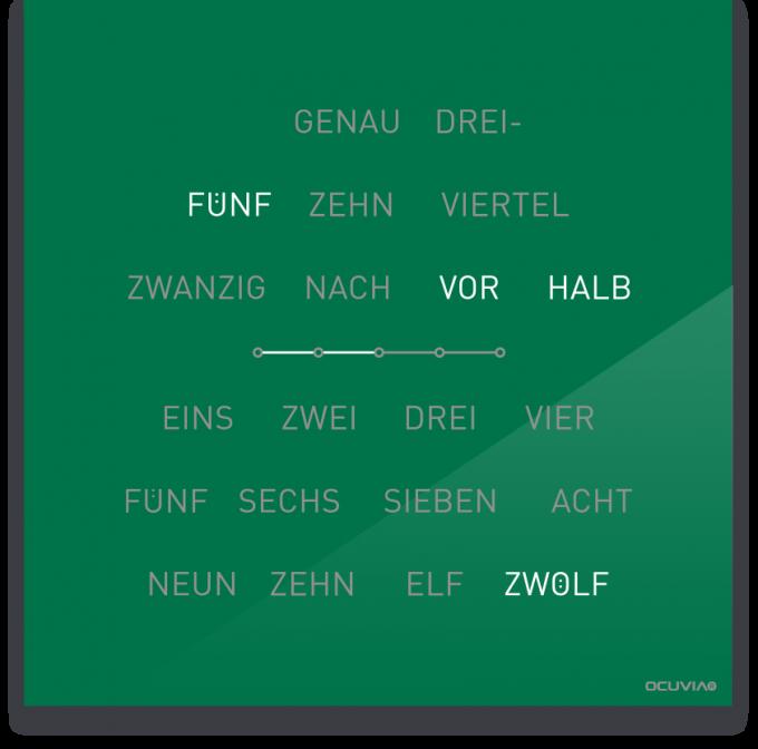 OCUVIA® · Wortuhr Lisa · Grün glänzend · Wortuhren-Manufaktur Berlin