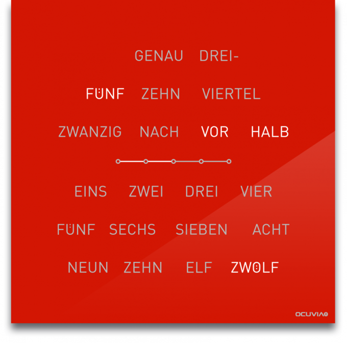 OCUVIA® · Wortuhr Lisa · Hellrot glänzend · Wortuhren-Manufaktur Berlin